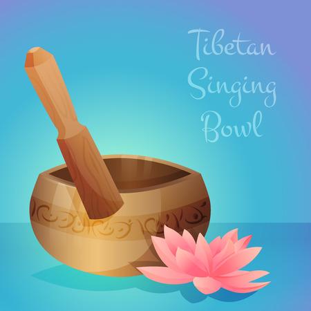 ベクトル木製スティックとロータスの花とチベットの歌ボウルのイラスト。ベクトル図