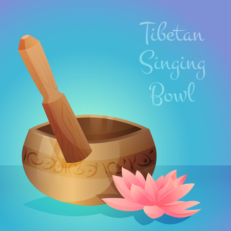 tibetan: Vector illustration of tibetan singing bowl with wooden stick and lotus flower. Vector illustration Illustration