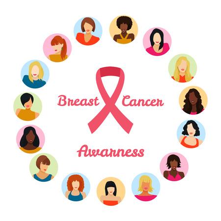 乳房癌 awarness 概念。ベクトル図