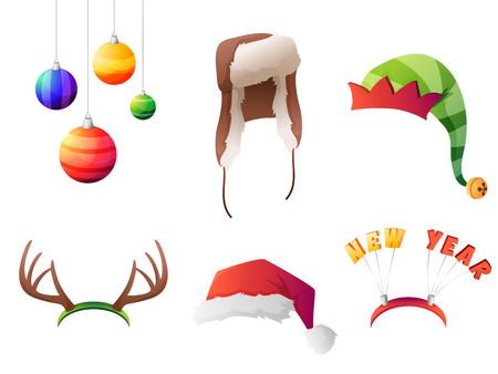 elf hat: Set of vector winter christmas hats set. For party, street home and new year. Vector illustration