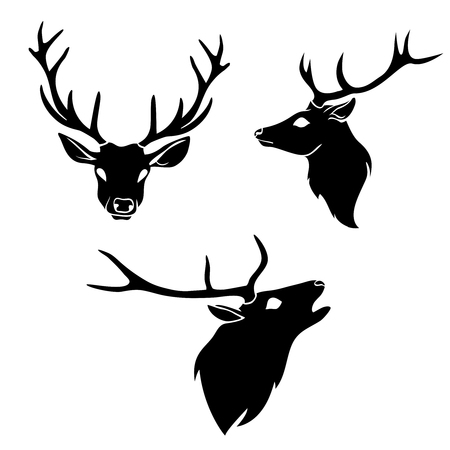 Set of graphic design deer head silhouette with horns black on white background. Vector illustration