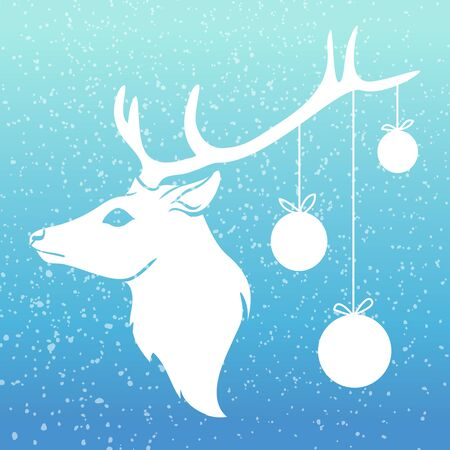 Christmas deer with x-mas balls on his horn with snow on blue background. Vector illustration