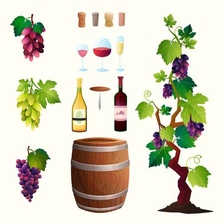 ワイン樽、ワイン ・ ガラス、ブドウ、ブドウの小枝とイラスト