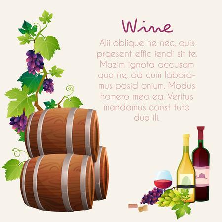 ワイン樽、ワイン ・ ガラス、ブドウ、ブドウの小枝のイラスト