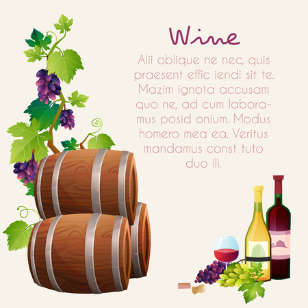 illustration of wine barrel, wine glass, grapes, grape twig Illustration