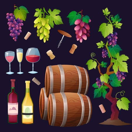 winemaking: Illustration of wine barrel, wine glass, grapes, grape twig