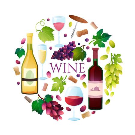 バレルの図のワイン、ワイングラス、ブドウ、ブドウの小枝