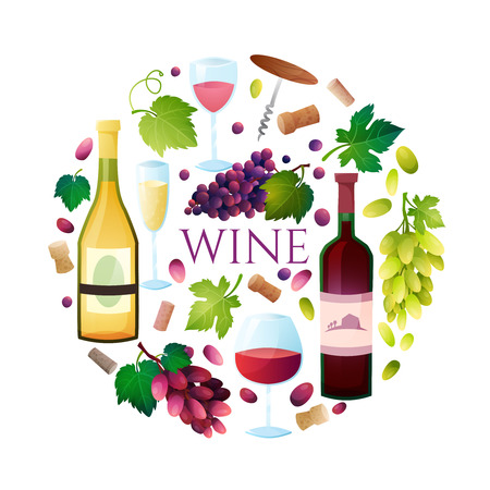 Illustration OF wine barrel, wine glass, grapes, grape twig