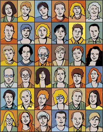 karikatuur: Set van onherkenbare mensen portretten. Collectie met verschillende gezichten onherkenbaar. Kleur vector illustratie.