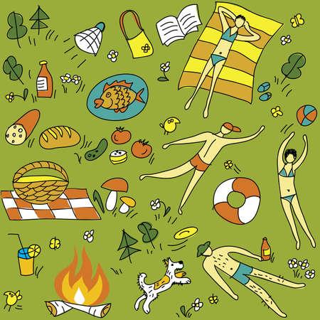 Summer-nique-transparente-pattern Le motif de drôles brillante transparente. Les jeunes gens se reposant sur la nature. Illustration vectorielle d'été. Banque d'images - 10495228