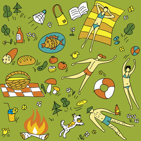 Summer-picnic-seamless-pattern The funny bright seamless pattern. Young people is resting on the nature. Summer vector illustration. Vector