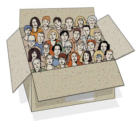 caricaturas de personas: Grupo grande de personas en la caja. El gran grupo de personajes diferentes personas irreconocibles en el cuadro como metáfora del trabajo en equipo. Color ilustración vectorial.