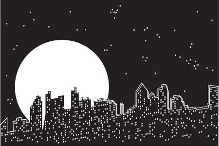 City moon night The moon and stars under the night abstract city. Black and white vector illustration.
