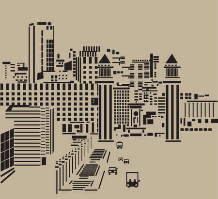 Main street in city. The big tower in the main street of the abstract city. Black and neutral kraft colored silhouette, graphic vector illustration.