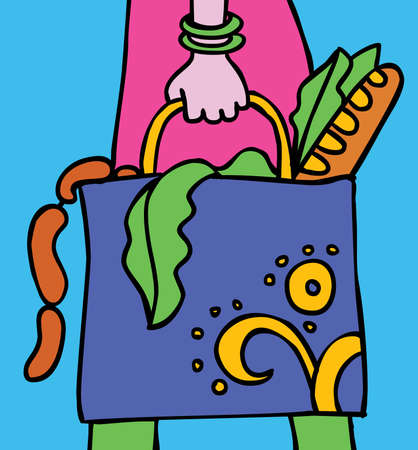 Shopping woman. The woman is caring the bag with some foods. Color illustration