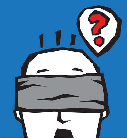 afraid man: Blindfold head. The man is thinking with blindfold.