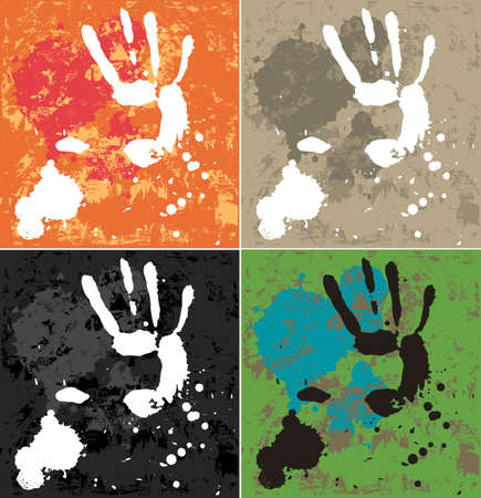 Blots and hand. Abstract composition. The set of blobs and hands prints, 4 color variation. All element is on the different layers.