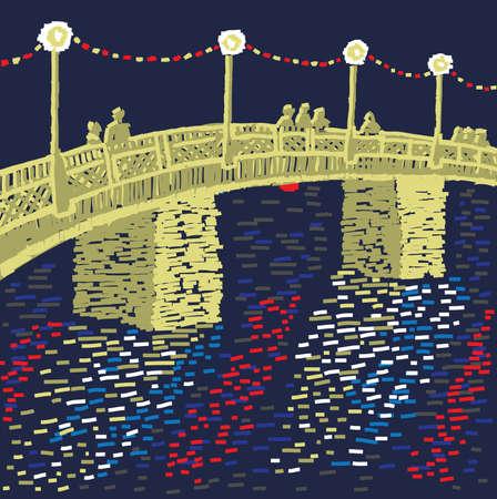 unrecognizable:  Night landscape city. The night bridge with golden light is in unrecognizable city. Illustration
