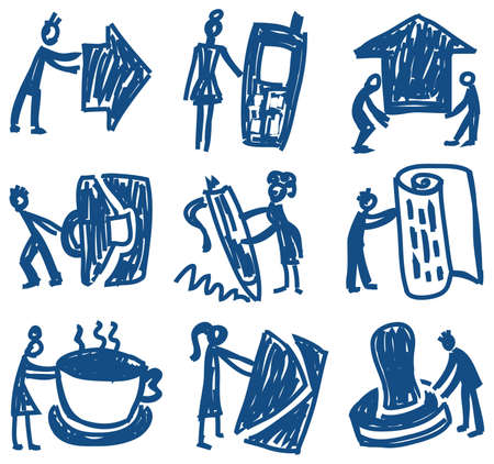 Business and people doodle icons. Nine hand-drawn pictograms about business and people.