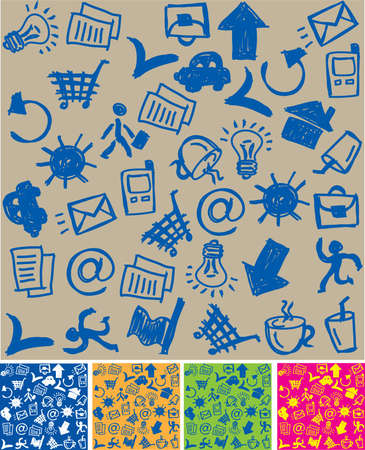 Seamless Business pattern. The seamless pattern with a hand-drawn business&,communication icons. Also 4 colors version is added.  イラスト・ベクター素材