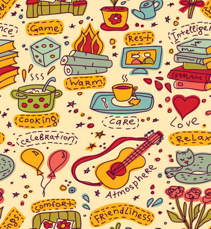 Seaamless pattern with home and family color symbols. Signs of happy family domestic life. Color vector hand drawn illustration.