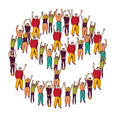 The crowd of happy people building the sign of peace. Color vector illustration.