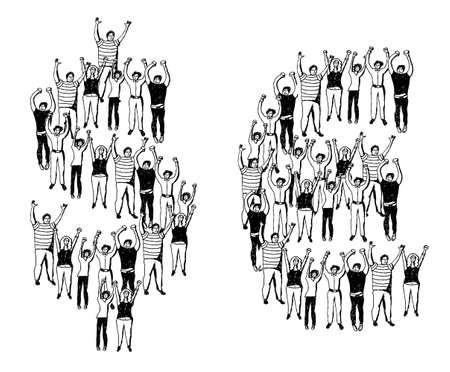 crowd happy people: Crowd of happy people building the money symbols. Monochrome vector illustration.