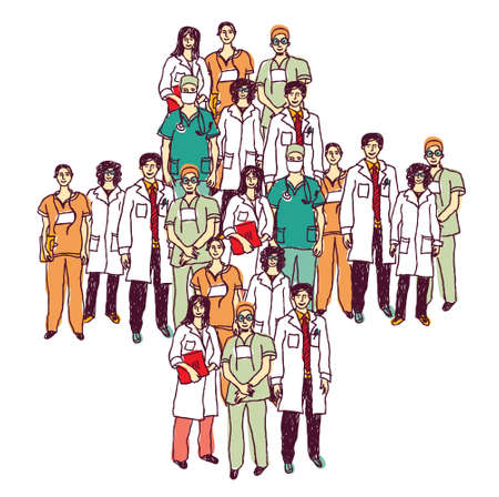 doctor symbol: Group of doctors standing like a medical symbol. Color vector illustration.