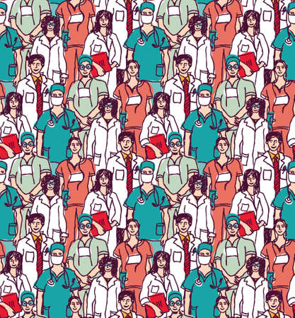 Color wallpaper with big group medical workers. Color vector illustration.