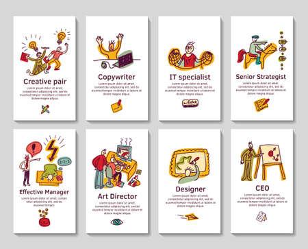 pensamiento creativo: Set con la tarjeta de visita profesi�n creativa o pancartas con dibujados a mano doodles iconos. Ilustraci�n de color del vector.
