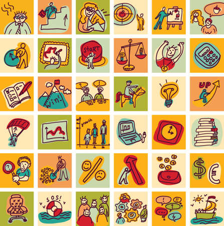 Set with business hand drawn doodles icons. Color vector illustration.