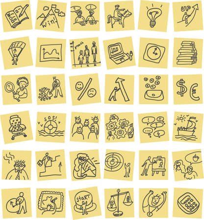 business hand: Set with business hand drawn doodles icons. Color vector illustration.