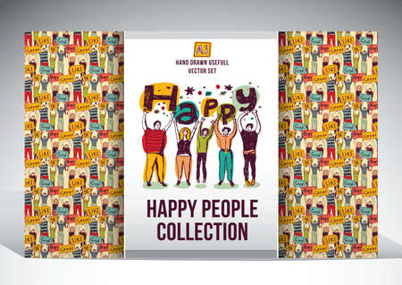 Set with seamless pattern with big team of young unrecognizable happy people and isolated figures. Color vector illustration.