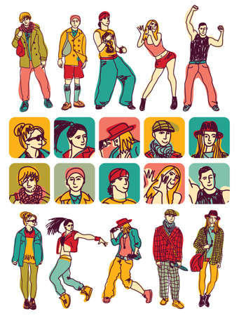 Separated set with people figures and characters icons. Color vector illustration.