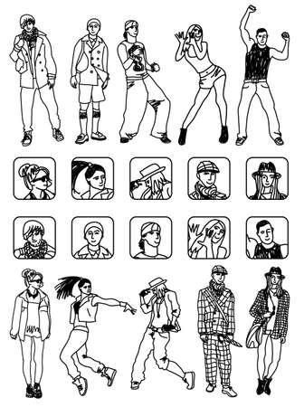 separated: Separated set with people figures and characters icons. Black and white vector illustration.