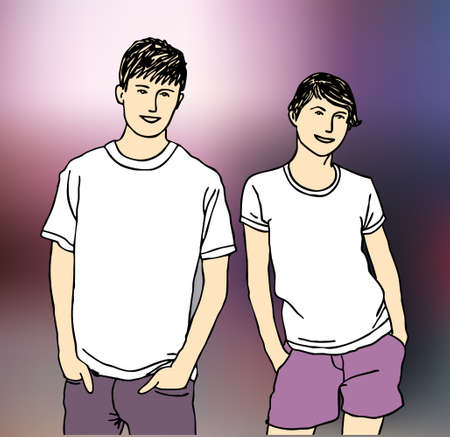 unrecognizable: Unrecognizable abstract young man and woman. Color vector illustration.