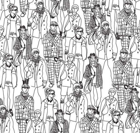 Gente feliz en gran multitud. Patrón transparente. Ilustración vectorial monocromo.