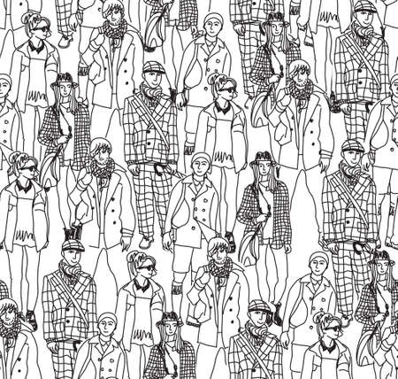 crowd happy people: Happy people in big crowd. Seamless pattern. Monochrome vector illustration.