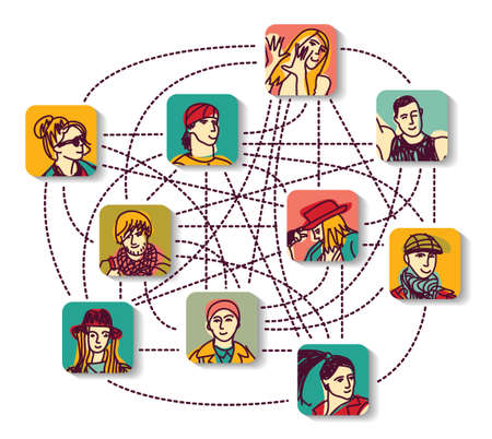 digital data: People relations like illustration about social network. Illustration