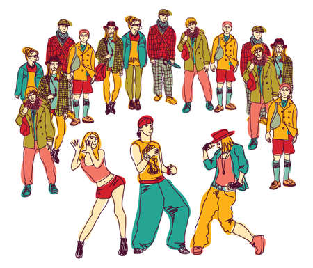 Young people dancing behind audience. Isolate on white color vector illustration.