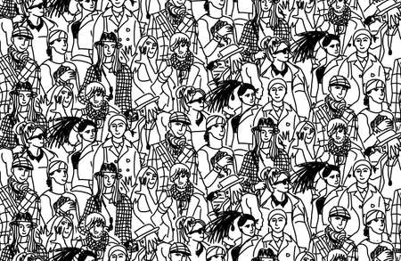 Happy people in large group. Wallpaper black and white vector illustration