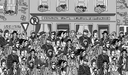 city street: Big group fashion people walking on the abstract street. Black and white vector illustration.