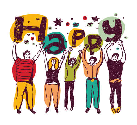 unrecognizable: Group of funny unrecognizable persons isolate on white with word Happy in hands. Color vector illustration. Illustration