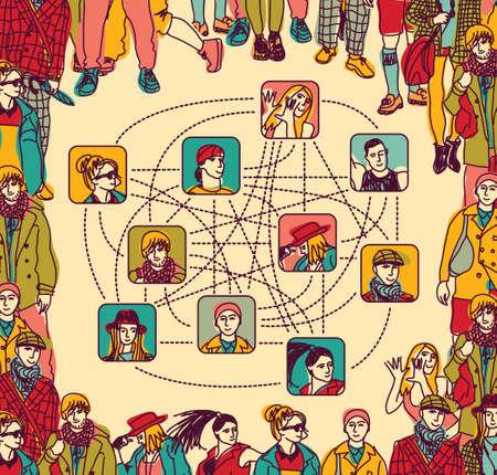relaciones humanas: La metáfora de las relaciones humanas contemporáneas. Ilustración de color del vector. Vectores