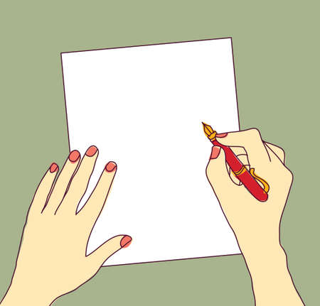 writing letter: Begin of work. Hand on the white paper. Color vector illustration. Illustration