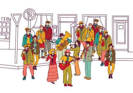 Urban scene, group musicians and audience. Color vector illustration.
