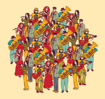 performing: Crowd musicians figures in full height. Color vector illustration. Eps 8. Illustration