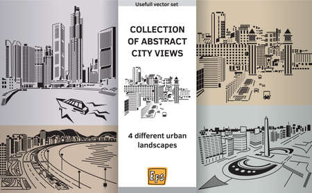 panoramas: Set with abstract panoramas. Color vector illustration. Vectores