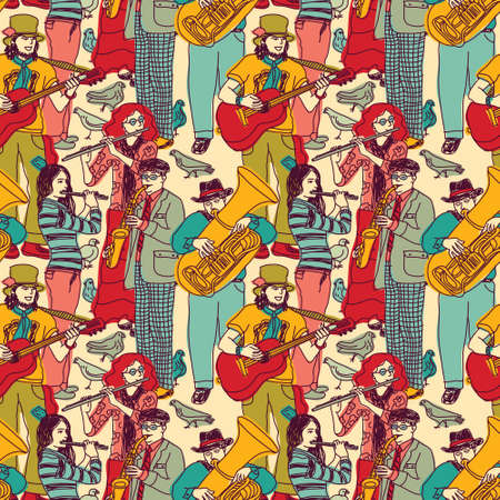 performing: Wallpaper with street musicians and birds. Color vector illustration. EPS 8. Illustration