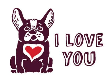 caricaturas de animales: Bulldog francés con el corazón rojo. Te amo tarjeta de felicitación. Eps 8.